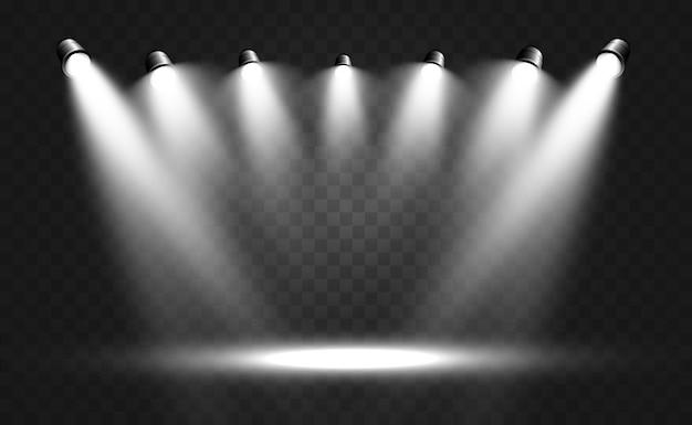 Белая сцена с прожекторами.