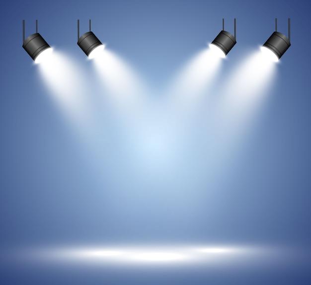 Белая сцена с прожекторами. .