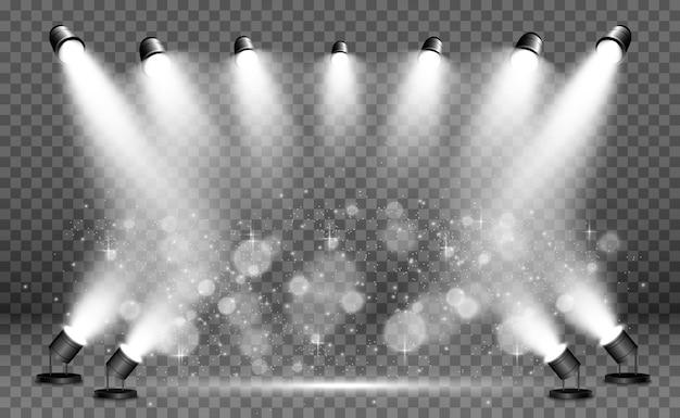 Белая сцена с прожекторами