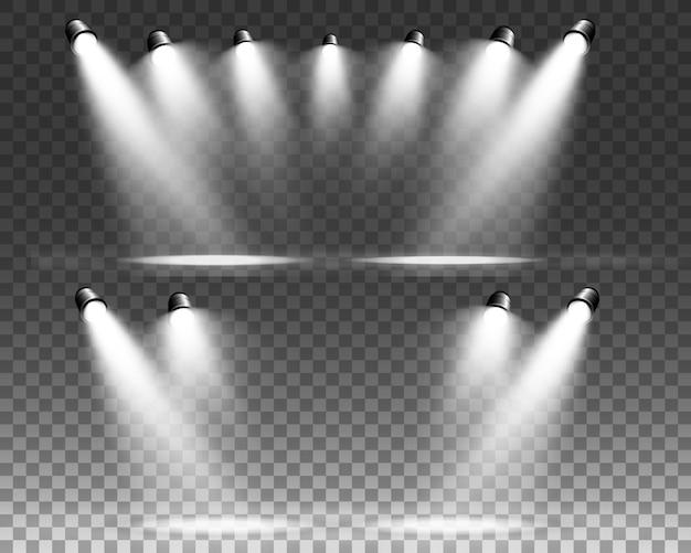 White scene on with spotlights.  illustration.