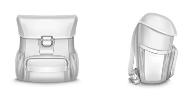 흰색 학교 가방 전면 및 측면보기