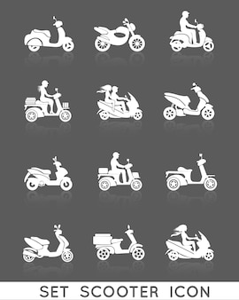 White scooter motorcycle vehicles with people silhouettes icons set isolated vector illustration