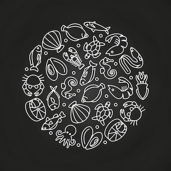 White sealife linear icons round concept