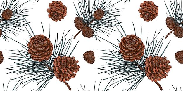 コーンとクリスマス杉の枝の白いシームレスパターン