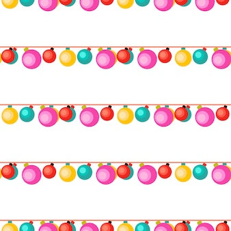 White seamless pattern with colorful garlands