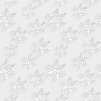 White seamless pattern with flat snowflakes