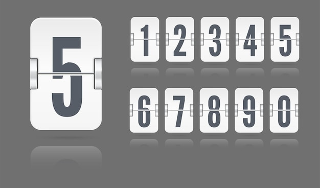 White set of flip numbers on a mechanical scoreboard floating with reflections isolated on dark background. vector template for your design.