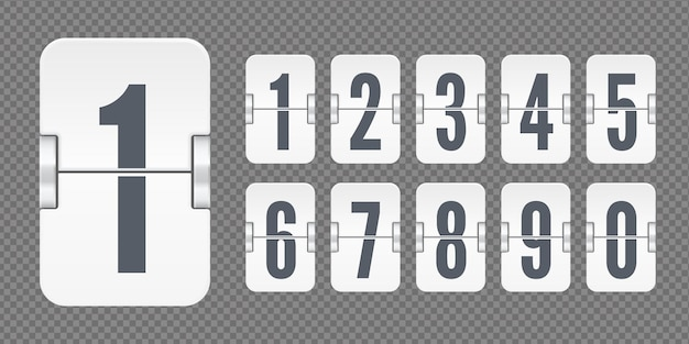 White set of flip numbers on a mechanical scoreboard isolated on dark transparent background. vector template for your design.