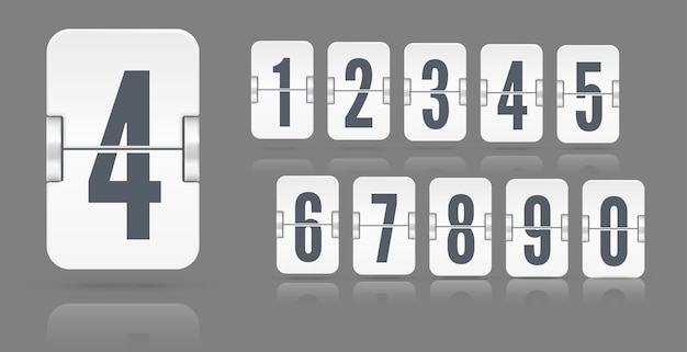 White set of flip numbers on a mechanical scoreboard with reflections floating on different height isolated on dark background. vector template for your design.