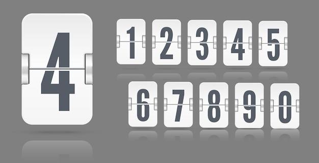 暗い背景に分離されたさまざまな高さに浮かぶ反射と機械的なスコアボード上のフリップ番号の白いセット。あなたのデザインのベクトルテンプレート。