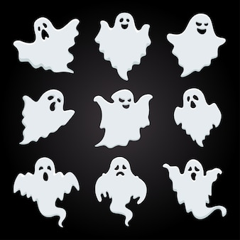 White shadow of halloween ghost collection