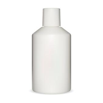 흰색 샴푸 병 모형. 플라스틱 패키지가 비어 있습니다. 화장품 튜브, 바디 로션 용기 그림입니다. 현실적인 액체 비누 병 디자인