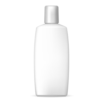 White shampoo bottle. plastic cosmetic.