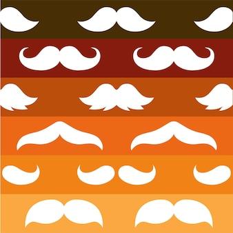 가을 지구 톤 색상 줄무늬 배경 위에 흰색 모양 콧수염