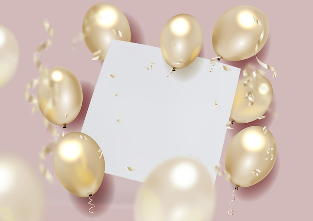 White sheet with air balloons and falling foil confetti