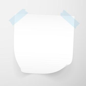 투명 한 배경에 고립 된 메모 용지의 흰 시트. 스티커 메모.