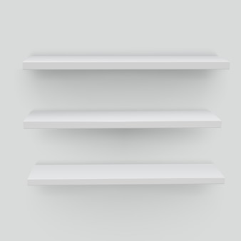 White shelves on white background