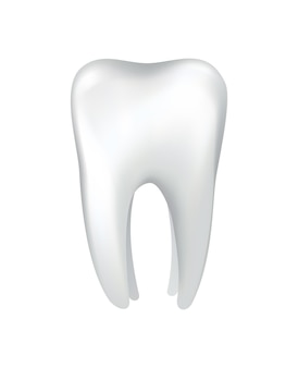 White shining human tooth. dental medical vector icon. stomatology clinic symbol. teeth protection, oral or tooth care. teeth restoration