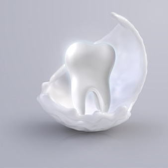 White shining tooth, concept whitening of human tooth. teeth protection, tooth care dental medical   icon. 3d   illustration.