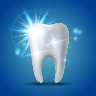 White shining tooth, concept whitening of human tooth.
