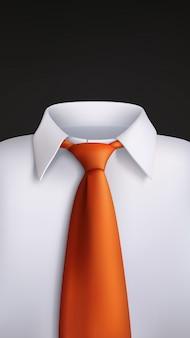 White shirt orange tie on black