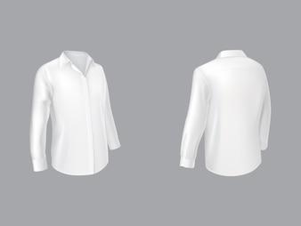 Белая рубашка с длинным рукавом на пол-оборота спереди