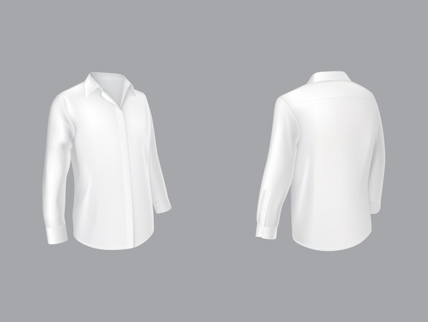 White shirt with long sleeves half turn front