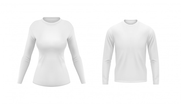 White shirts with long sleeves for men and women