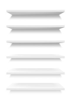 흰색 상점 제품 선반
