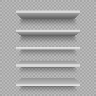 White shop shelves for product. blank empty showcase. realistic bookcase store rack, shopping merchandise market products racks.