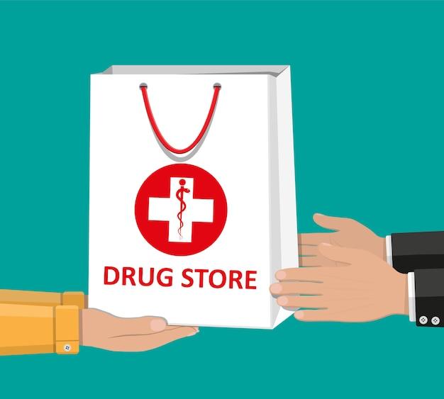 医療薬や瓶のための白いショッピングバッグ