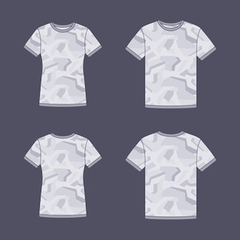 White short sleeve t-shirts templates with the camouflage pattern