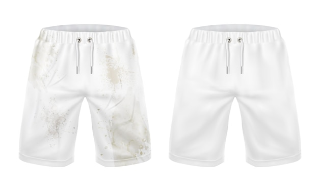 White shorts before and after washing dirt removal