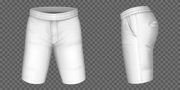 男性用の白いショーツ、ポケットとラバーバンドテンプレートの正面、側面図の男性パンツ。現実的な3d空白のアパレルデザイン、スポーツウェア、カジュアルな服を分離