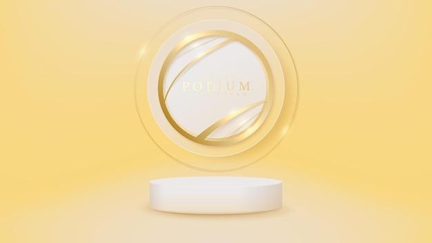 ホワイトショーの表彰台と曲線と輝くきらびやかな光の効果を持つ金色の円の要素、バナー製品の豪華なシーンのデザイン。