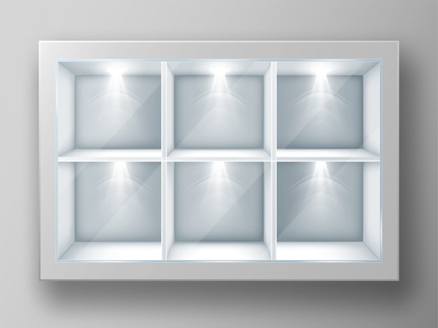 White showcase with square shelves and glass