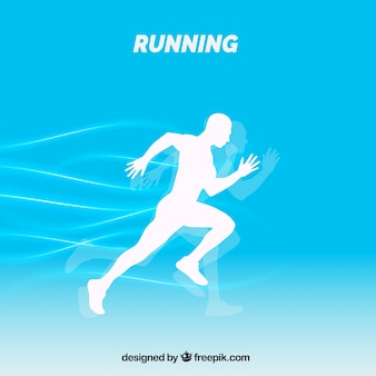White silhouette background of runner