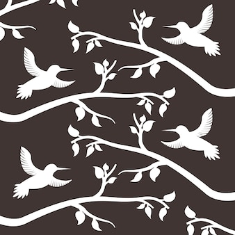 흰색 실루엣 조류와 가지 나무 장식 패턴