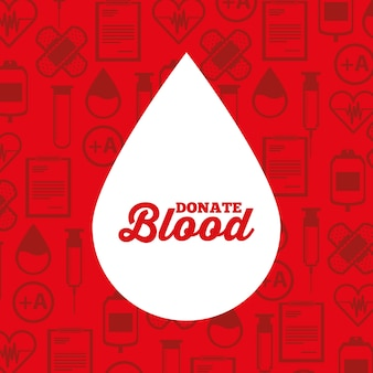 White silhouette drop blood donate medical icons background