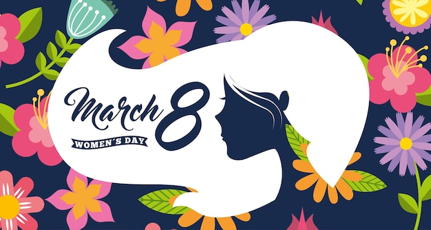 White silhouette woman head hair womens day 8 march floral background