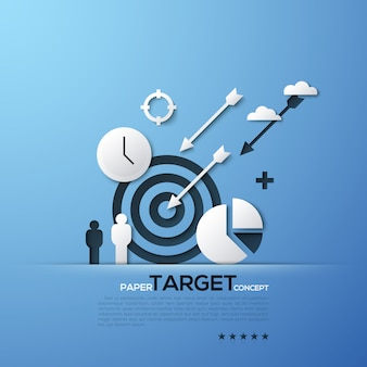 White silhouettes of aim, arrows, person, clouds, watches and pie chart. modern elements in minimalist style.