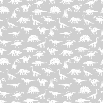 White silhouettes different dinosaurus vector seamless pattern
