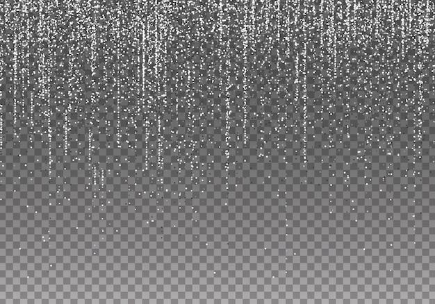 Белые серебряные гирлянды с блестками свисают вертикальными линиями. падающие огни конфетти, изолированные на черном фоне. роскошная светящаяся текстура.