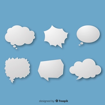 White simple speech bubbles on blue background