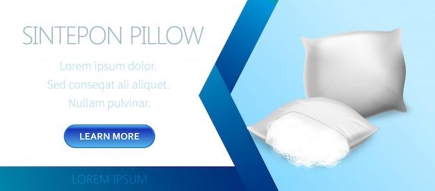 White sintepon pillow advertising