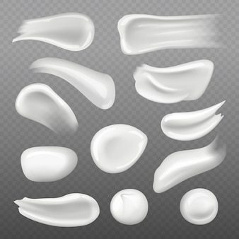 白い肌のクリーム。女性のスキンケアのための新鮮な化粧品ジェル現実的なテンプレート