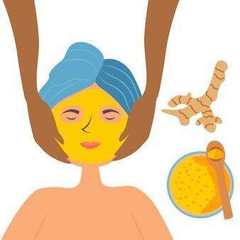 Белокожая девушка спа-салон получает массаж лица с куркумой, маской для лица косметическое очищение