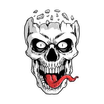 白い頭蓋骨のイラスト