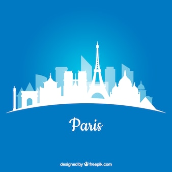 White skyline of paris on blue background