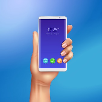 White smart phone in female hand on gradient blue background realistic illustration